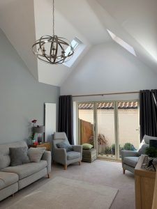 vaulted ceilings and roof windows for light airy feeling